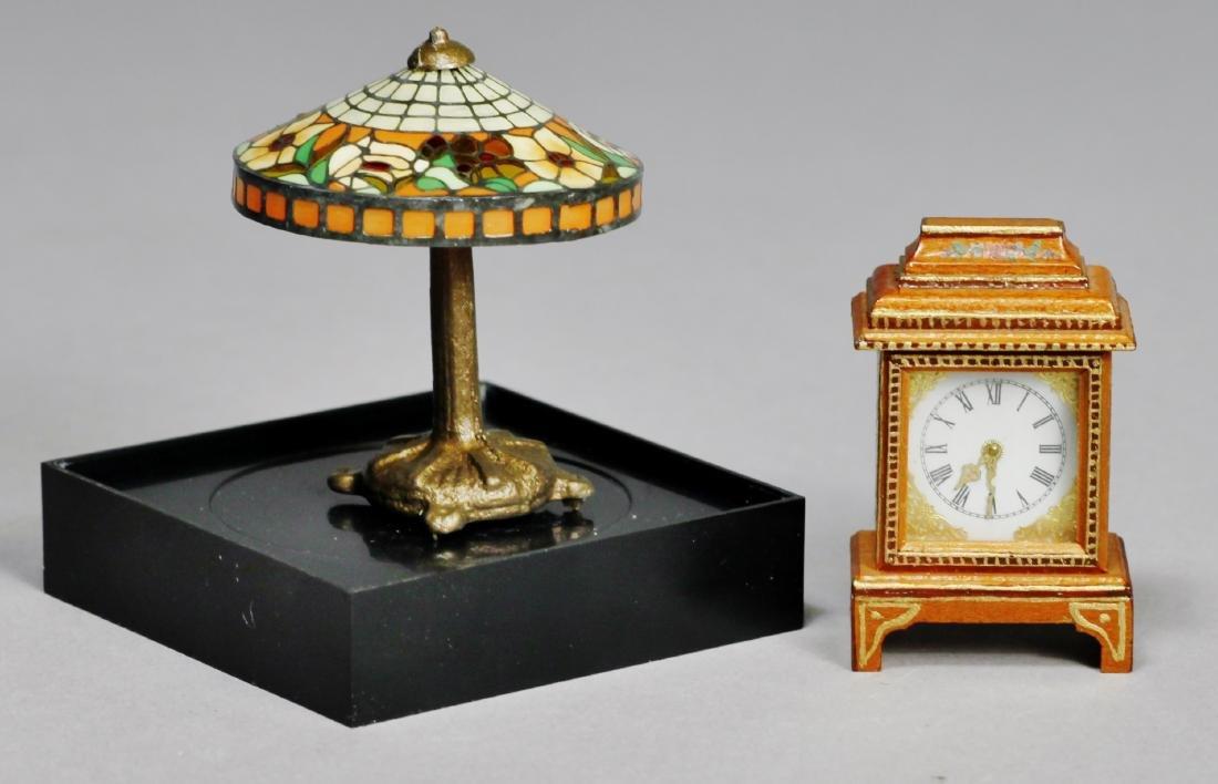 Judy Beals Signed clock plus tiffany style lamp