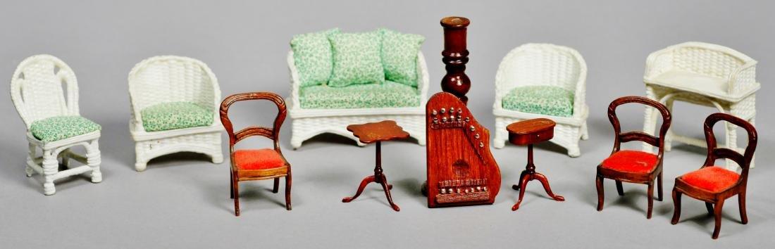 Fun lot of dollhouse furniture, Artist Signed.