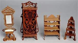 Vintage Art Nouveau Style Dollhouse Furniture SIGNED