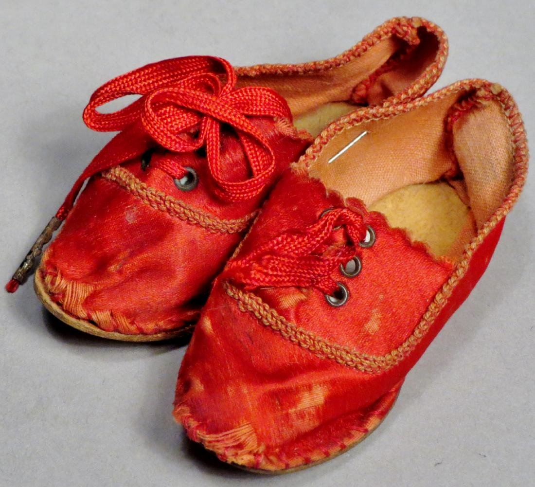 c1890 Red Silk Doll Shoes