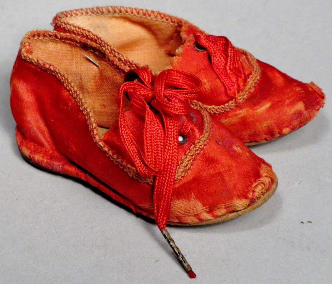 c1890 Red Silk Doll Shoes - 2