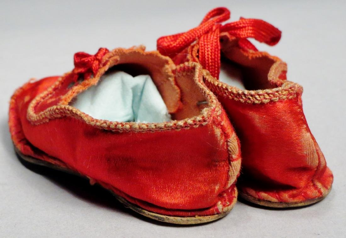 c1890 Red Silk Doll Shoes - 3