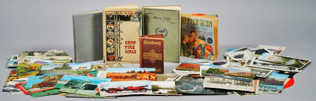 Lot of Postcards and Vintage & Antique Books