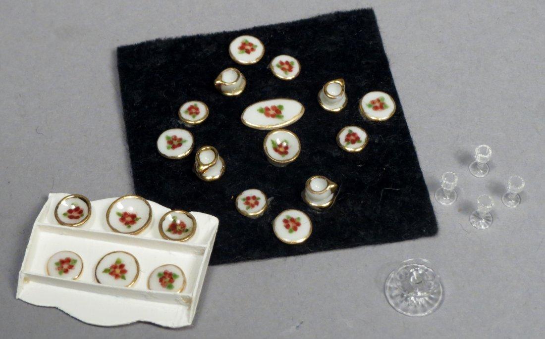 Vintage Dollhouse Miniature Porcelain China Set & Glass