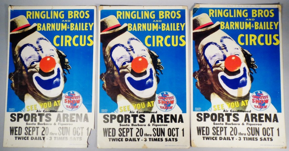 3 circus posters Ringling Brothers Lou Jacobs Coplan