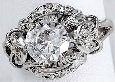 Art Deco 1.57ct VS1 Diamond Ring $28,000 Appraisal