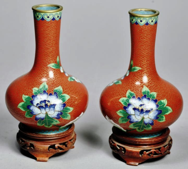 Pair Of Chinese Cloisonne Vases with Hardwood Stands