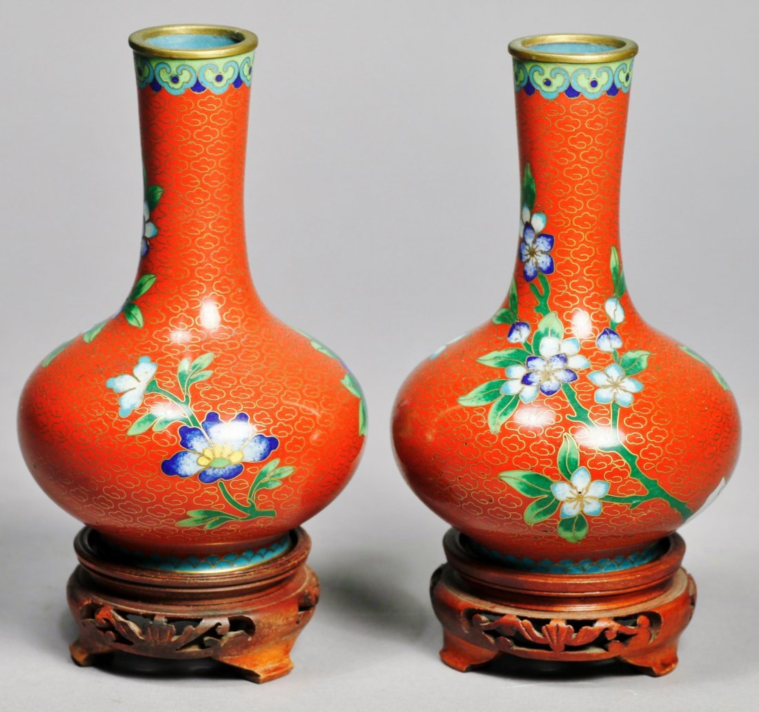 Pair Of Chinese Cloisonne Vases with Hardwood Stands - 3