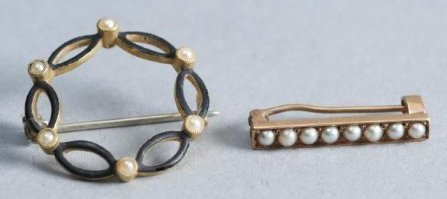 Victorian 2 piece 14 K Gold Lot, Seed Pearl & Bar Pin