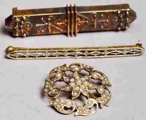Lot of 14 K Items bar pins, Seed pearl, Victorain