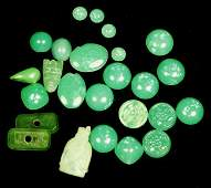 Lot of Assort Green Stone Some Chinese Jade Carved