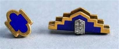 Art Deco 18k Gold Diamond Enamel Tie Tack  Accessory