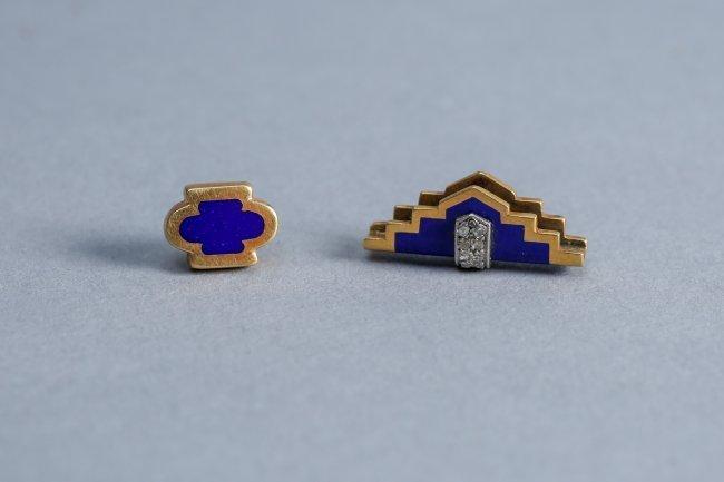 Art Deco 18k Gold, Diamond, Enamel Tie Tack & Accessory - 2