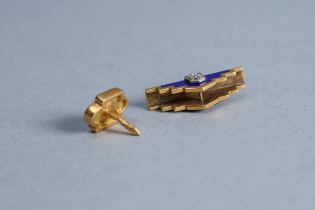 Art Deco 18k Gold, Diamond, Enamel Tie Tack & Accessory - 4