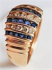 14K Yellow Gold, Diamond & Sapphire Ring