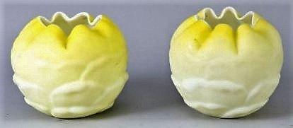 Victorian Pair Satin Cased Glass Rosebowls Yellow