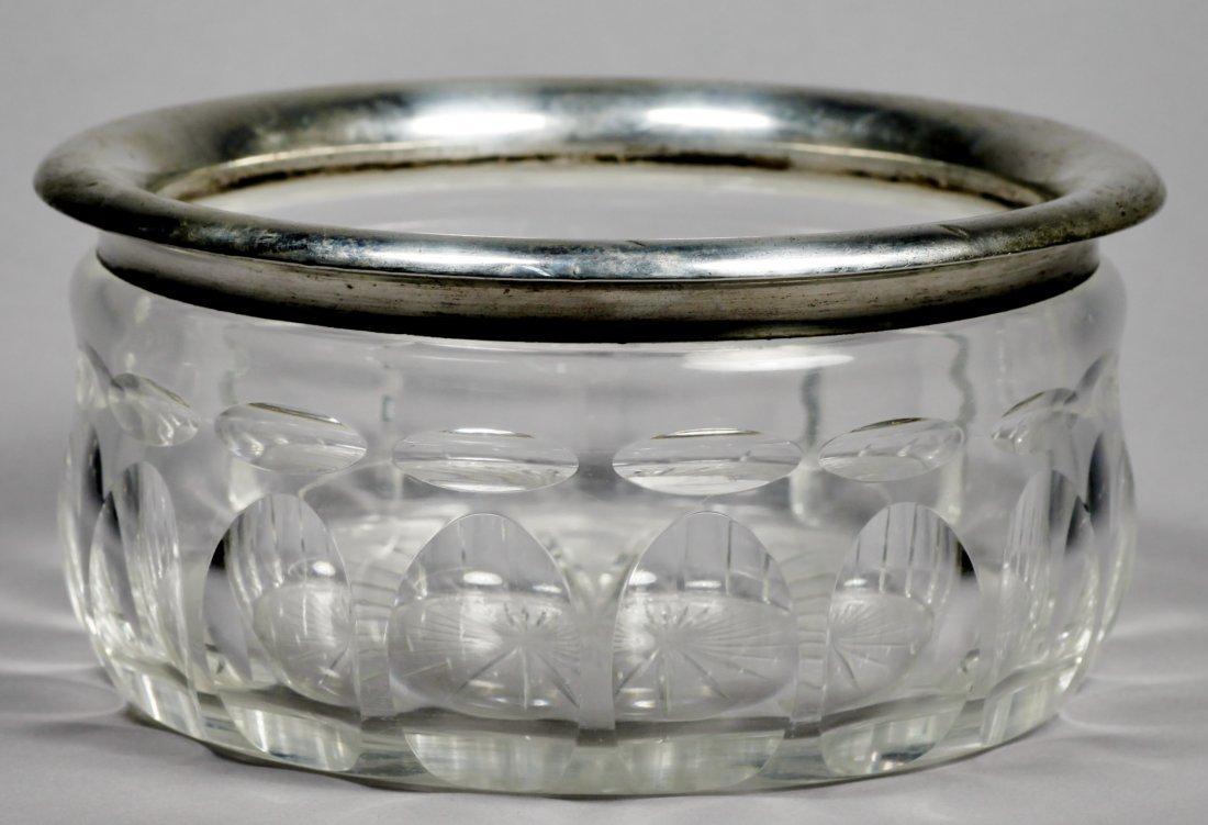 Elegant Silver & Faceted Glass Bowl 835