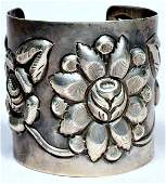 A. Tobias Mexico Sterling Repousse Cuff Bracelet
