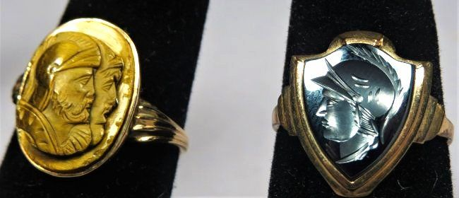 Victorian Carved  Cameo Stone Intaglio Rings 10 K