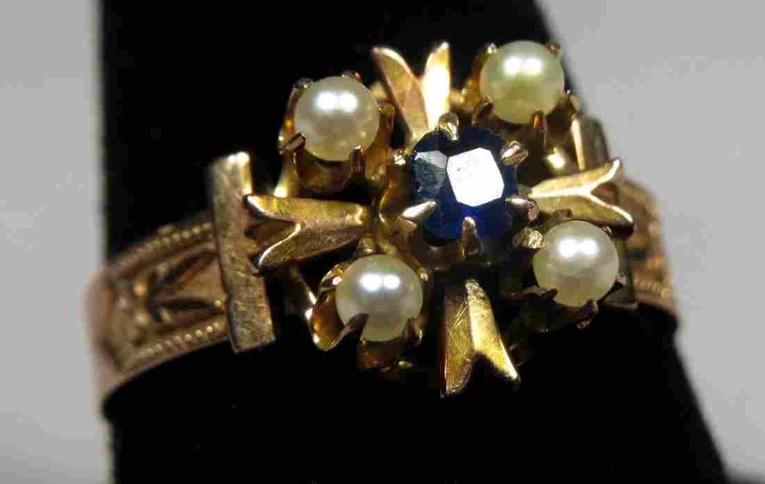 Edwardian 14K Gold, Pearl & Sapphire Ring