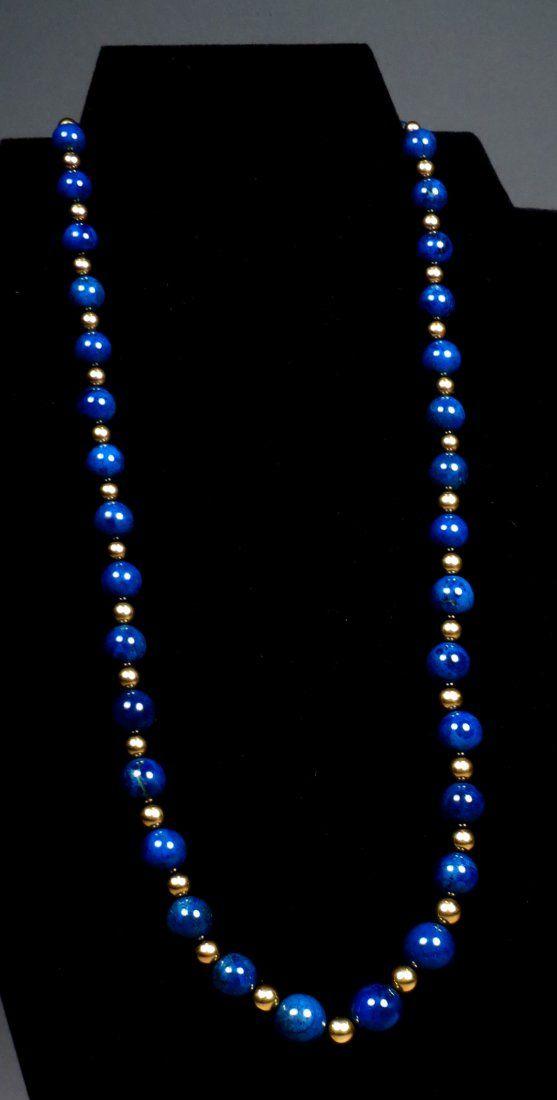 14K Gold & Lapis Bead Necklace