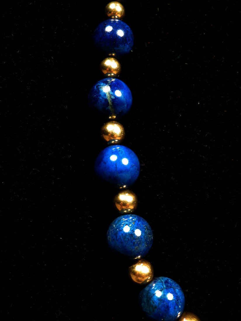 14K Gold & Lapis Bead Necklace - 2