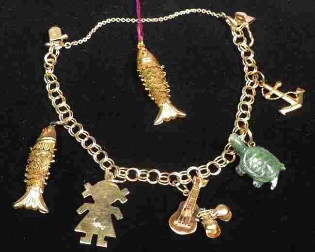 Vintage 14K Gold Charm Bracelet, Extra Charm Jade