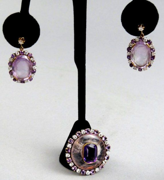 14K Gold & Diamonds, Amethyst & Rutilated Quartz Carved