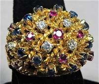 Italian 18k Yellow Gold Multi Stone Ring Mid Century
