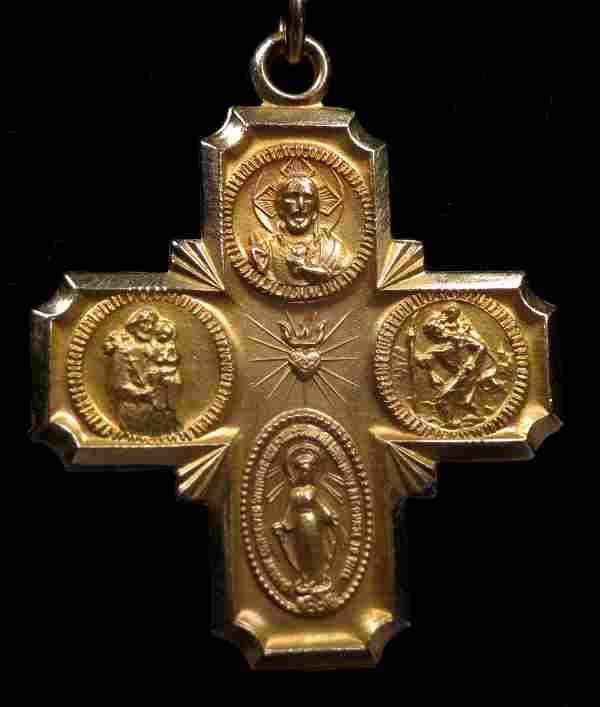 14K Saint Cross Necklace