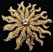 Victorian Seed Pearl Diamond Rose Gold Brooch