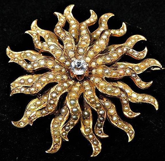 Victorian Seed Pearl, Diamond Rose Gold Brooch