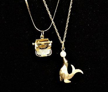 Pair 14K Chain Necklaces with Charm Pendants