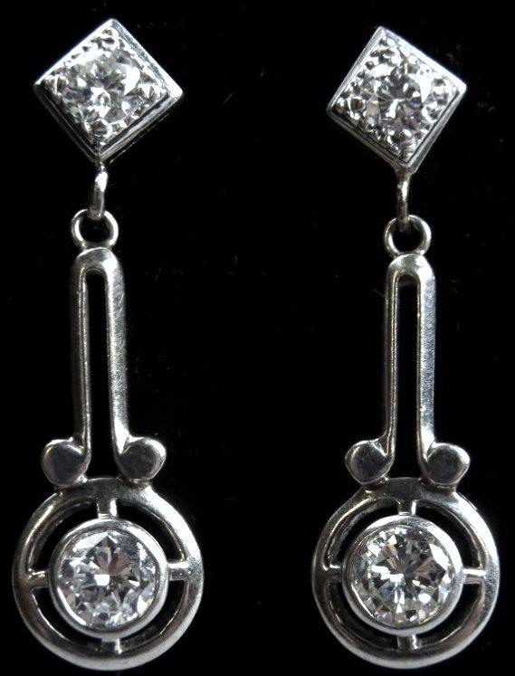 Beautiful 14K White Gold and Diamond Dangle Earrings