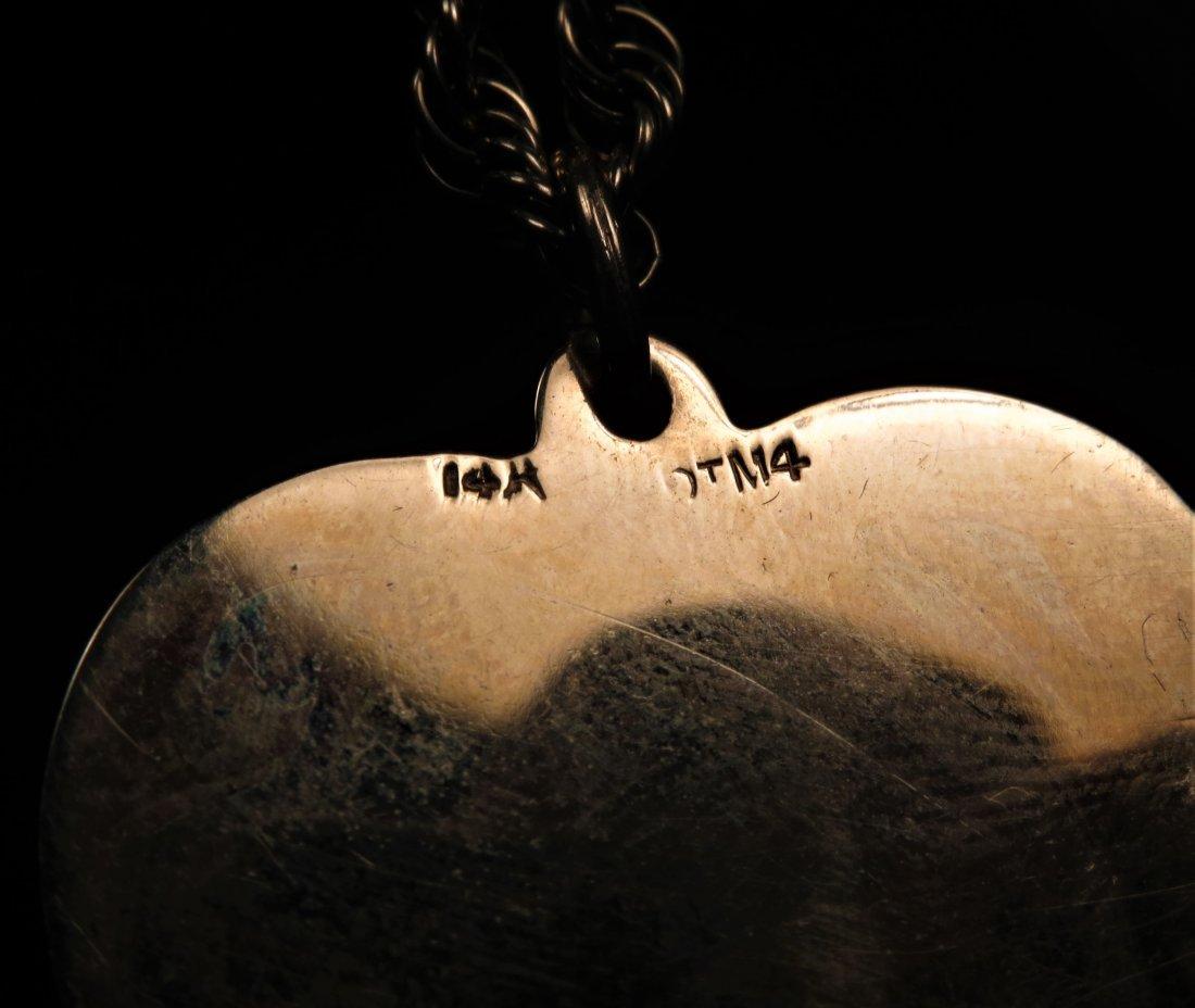 14k Yellow Gold Heart Pendant & Chain - 2