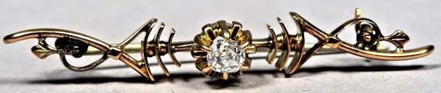 Victorian 10K Gold & Diamond Bar Pin