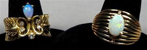 Two 14k Yellow Gold Opal Diamond Rings