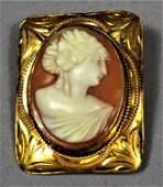 Victorian 10K Gold Cameo Brooch