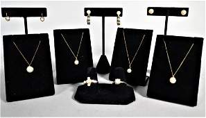 Misc. Lot 14K Gold & Cultured Pearl Jewelry