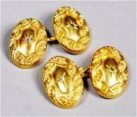 Antique 14K Gold Diamond/Emerald Cufflinks