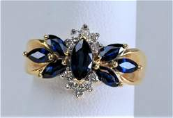 Pretty 14k Yellow Gold Ring with Blue Sapphires