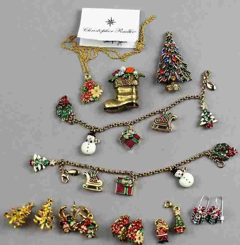 Christopher Radko Christmas Mixed Lot of Jewelry