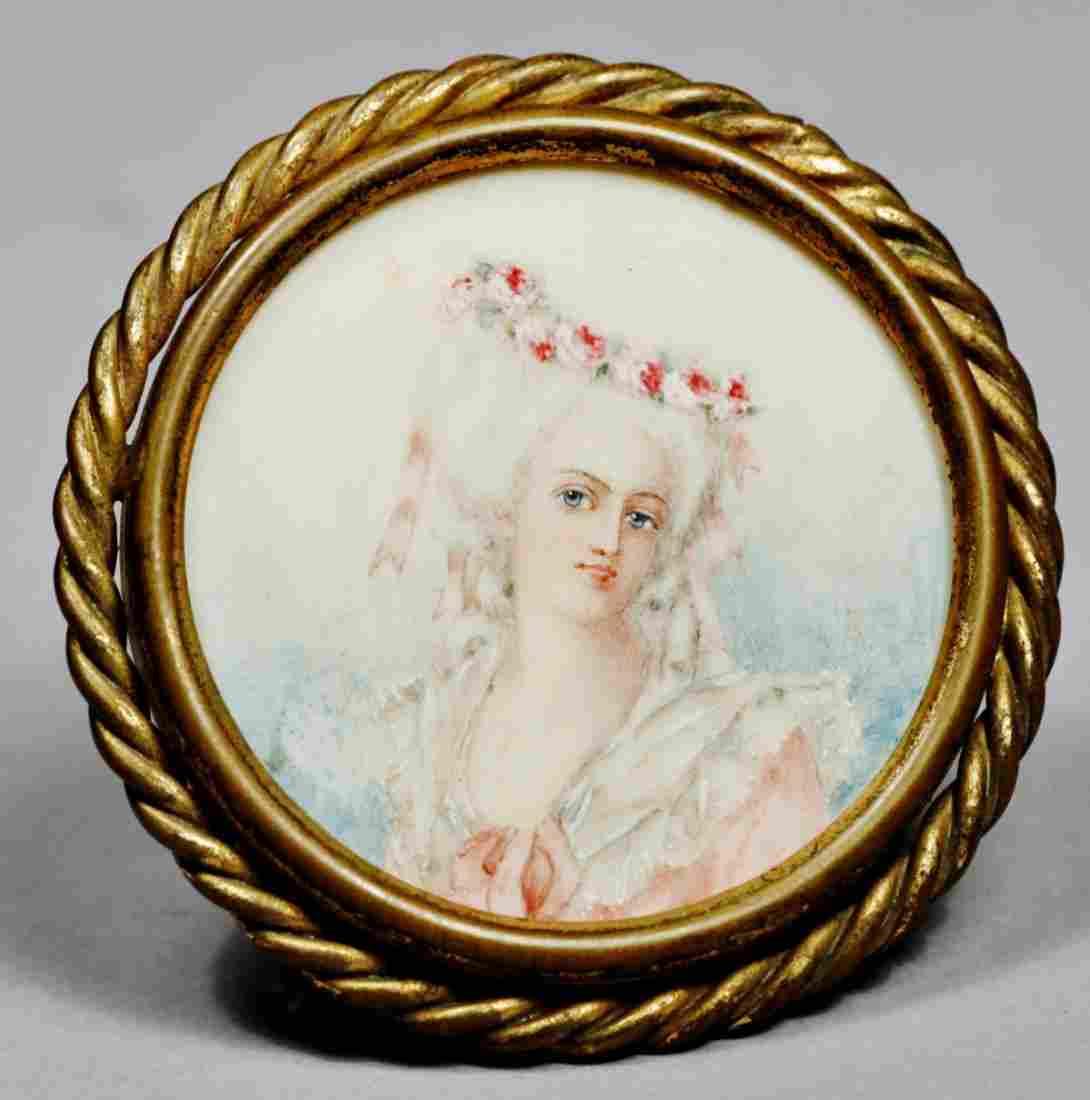 Antique Hand Painted Portrait Miniature