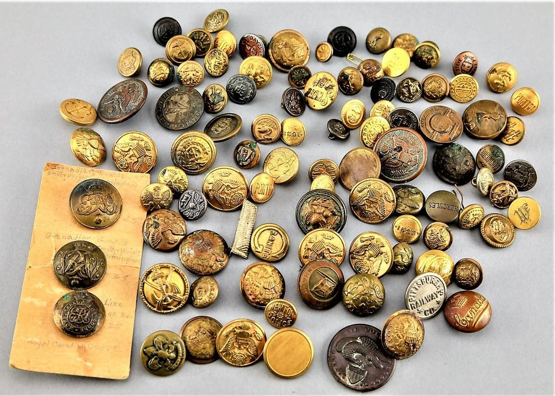 Lot Brass Uniform Buttons, Police, Military  Railroad