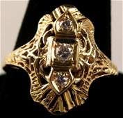 Art Deco Style 14k Gold & Diamond Ring