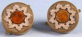 Antique Pair 14K Gold & Stone Cufflinks