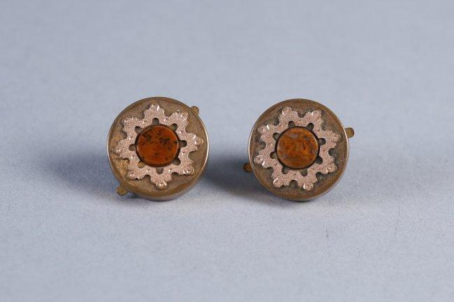 Antique Pair 14K Gold & Stone Cufflinks - 2