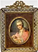 Antique Portrait Miniature Lady Taking Tea