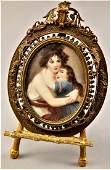 Mother & Child Painted Portrait Miniature After Le Brun