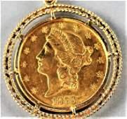 1878 US Liberty Head Eagle $20 Gold Coin Pendant